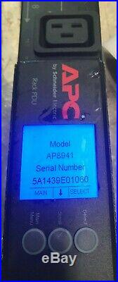 2 APC AP8941 30A L6-30 Switched Managed Rack PDU Vertical 0U 208V 21x C13 3x C19