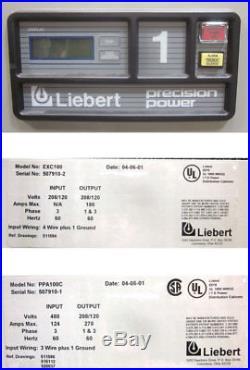 Liebert PDU 100-kVA 4-Panelboard Power Distribution Unit Remote PPA100C/EXC100