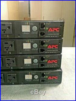 Lot of 4 APC AP7901 Switched Rack PDU 1U 20A 120V (8)5-20 withEars Tested Warranty
